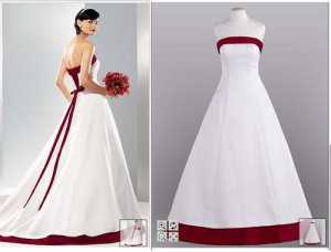 White-And-Apple-Red-Wedding-Gown